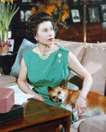 The Queen with her corgi