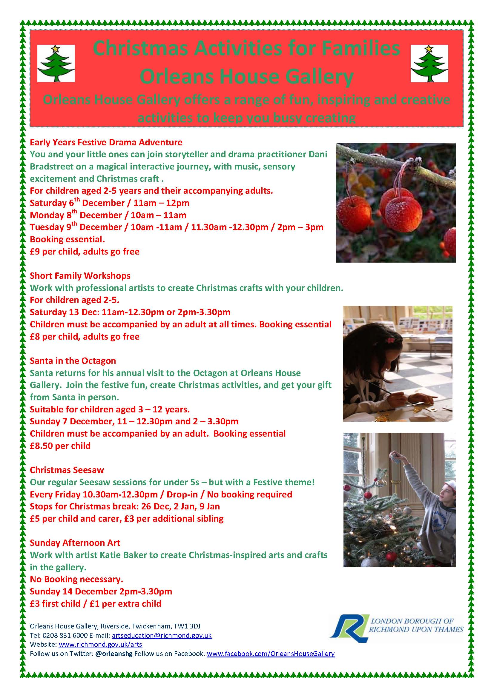 Event Reminder Christmas Activities At Orleans House Gallery 2014