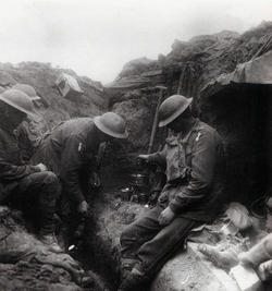 making tea in trench