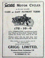 MOTORCYCLES 1923 Grigg Advert